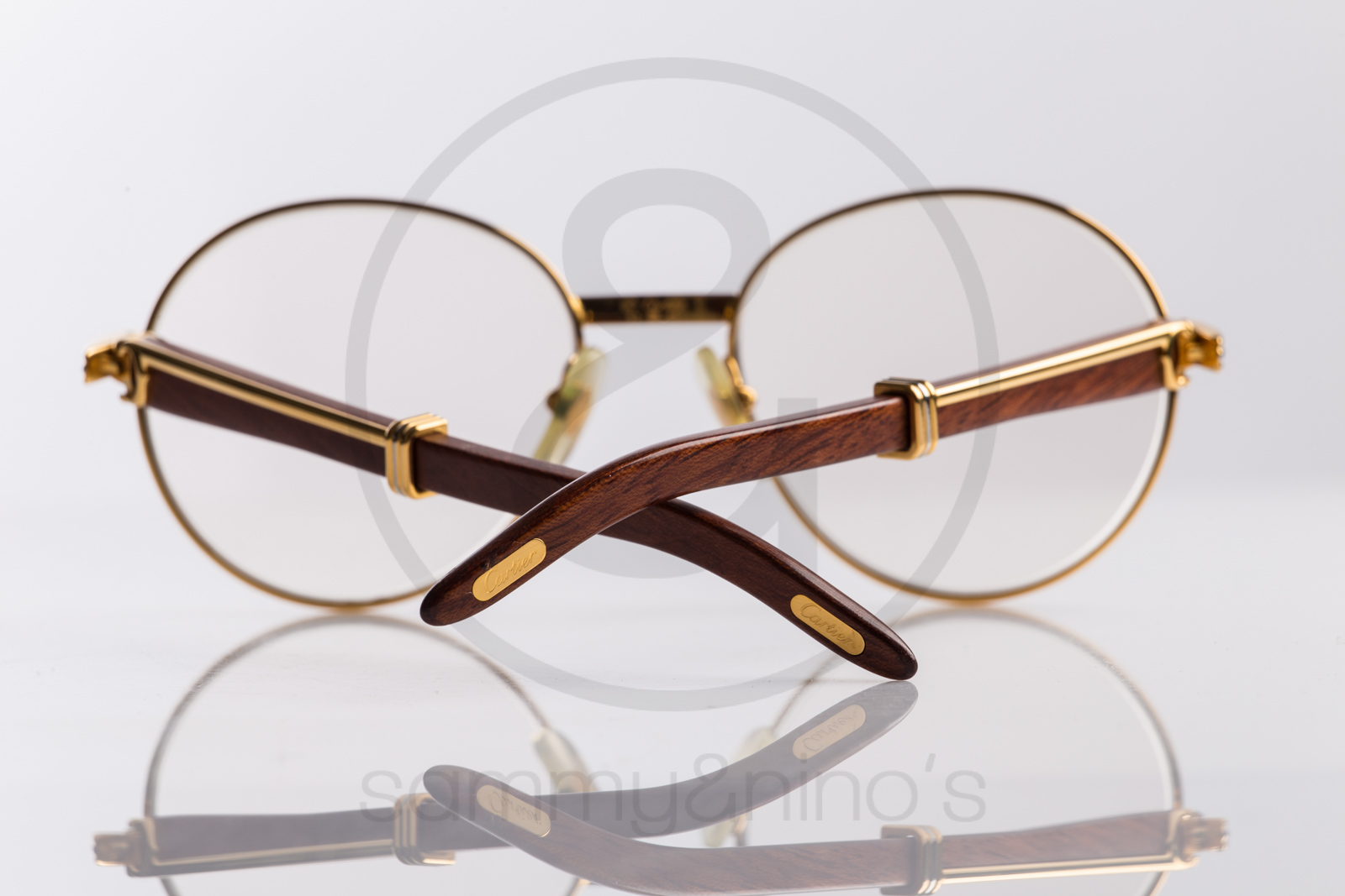 cartier wood gold sunglasses