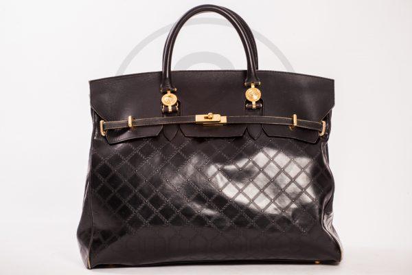 vintage Gianni Versace leather purse black gold 80's medusasammyninos 1