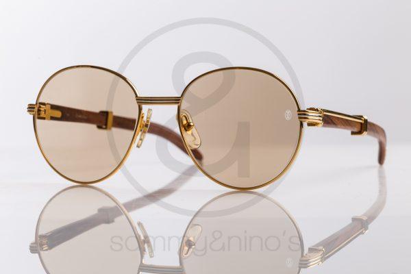 90eaa89660a2 vintage Cartier bagatelle sunglasses wood gold sammyninos ...